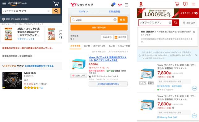アマゾン、楽天、ヤフーでバイアックスの価格を比較した画像